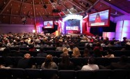 View from back of room during Sarah's speech at SEU leadership forum
