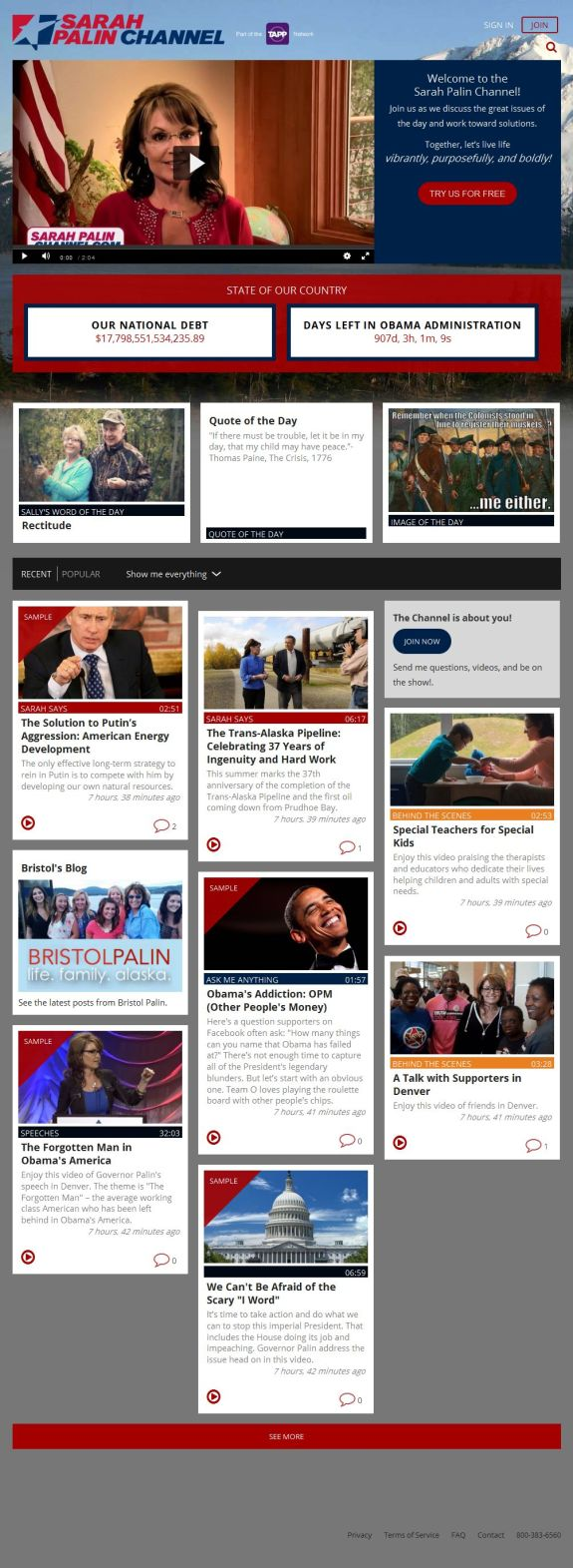 Sarah Palin Channel Home Page